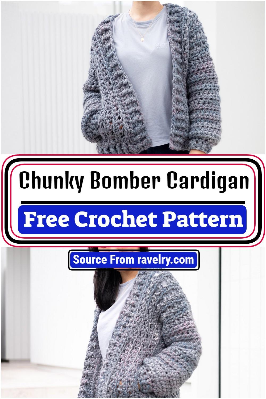 Free Crochet Chunky Bomber Cardigan Pattern