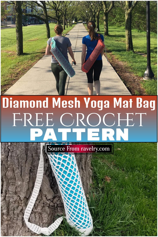 Free Crochet Diamond Mesh Yoga Mat Bag Pattern