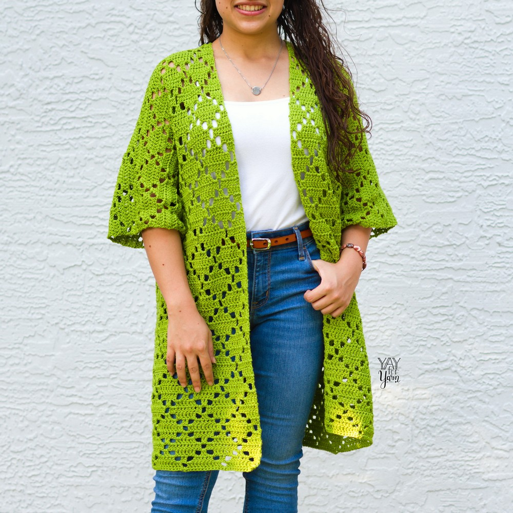 Free Crochet Diamond Oversized Cardigan Pattern