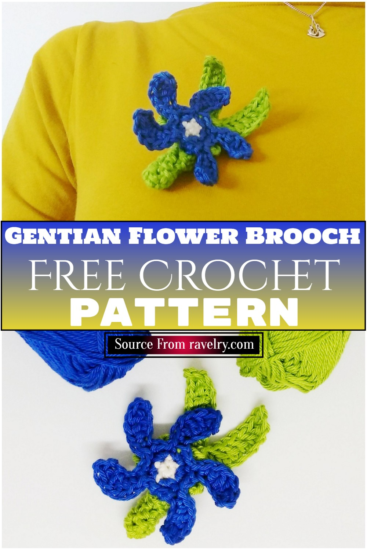 Free Crochet Gentian Flower Brooch Pattern 1