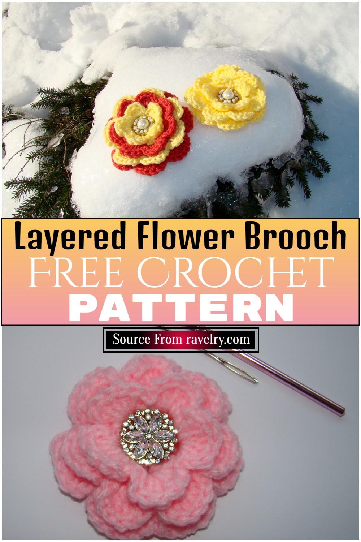 Free Crochet Layered Flower Brooch Pattern