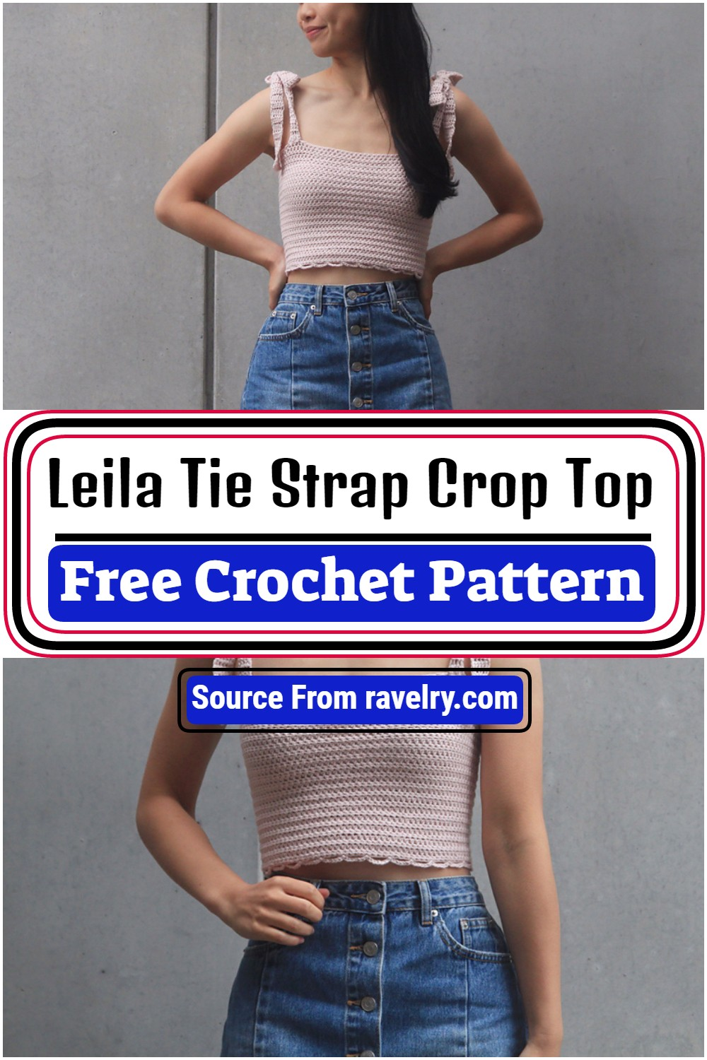Free Crochet Leila Tie Strap Crop Top Pattern