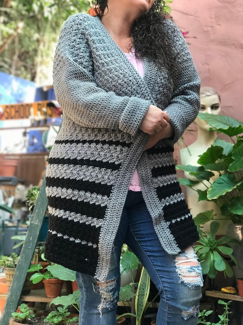 Free Crochet Oversized Pixie Dipped Cardigan Pattern