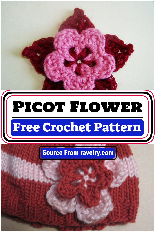 Free Crochet Picot Flower Pattern