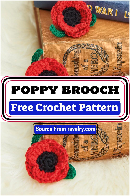 Free Crochet Poppy Brooch Pattern
