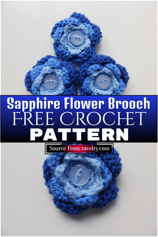 Free Crochet Sapphire Flower Brooch Pattern