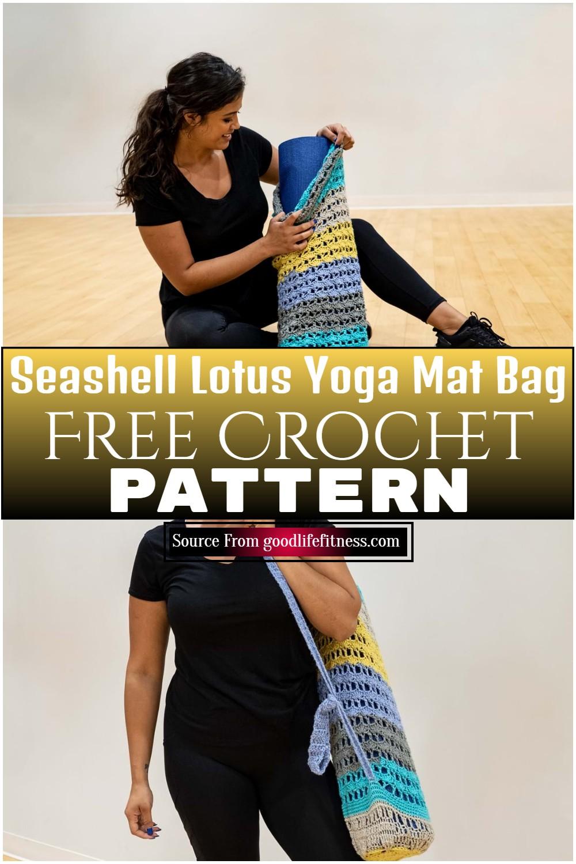 Free Crochet Seashell Lotus Yoga Mat Bag Pattern