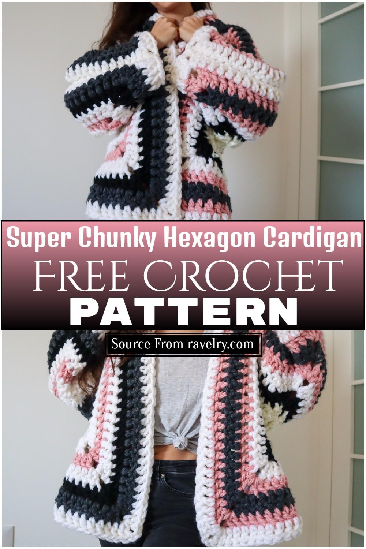 Free Crochet Super Chunky Hexagon Cardigan Pattern