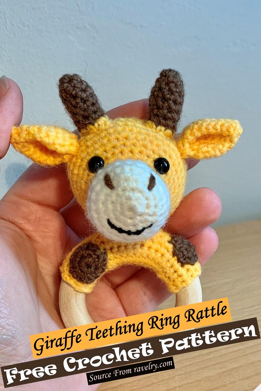 Crochet Giraffe Teething Ring Rattle Pattern