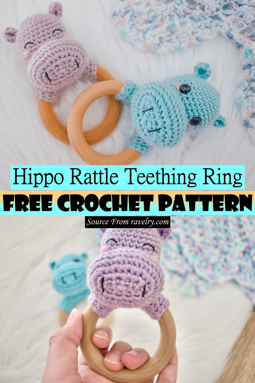 Crochet Hippo Rattle Teething Ring Pattern