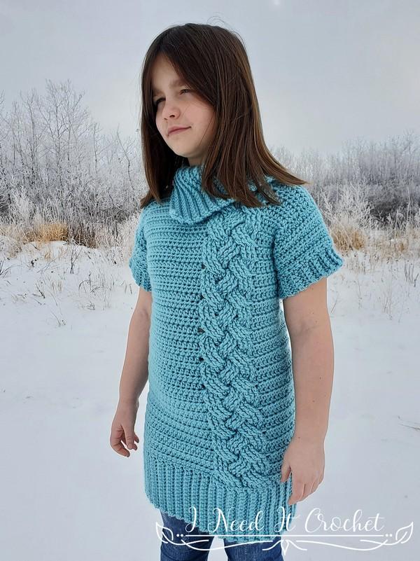 Crochet Kids Cozy Cabled Sweater Dress Pattern