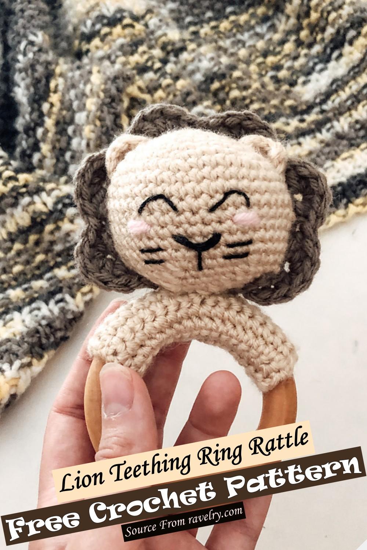 Crochet Lion Teething Ring Rattle Pattern