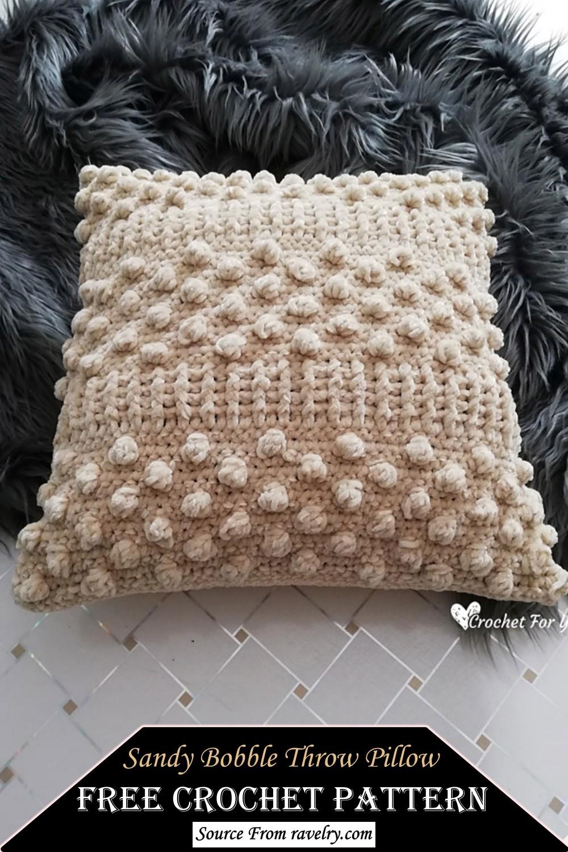 Crochet Sandy Bobble Throw Pillow Pattern