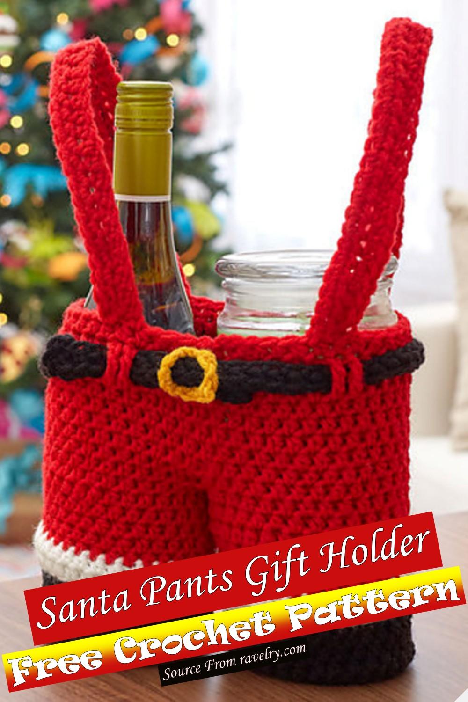 Crochet Santa Pants Gift Holder Pattern