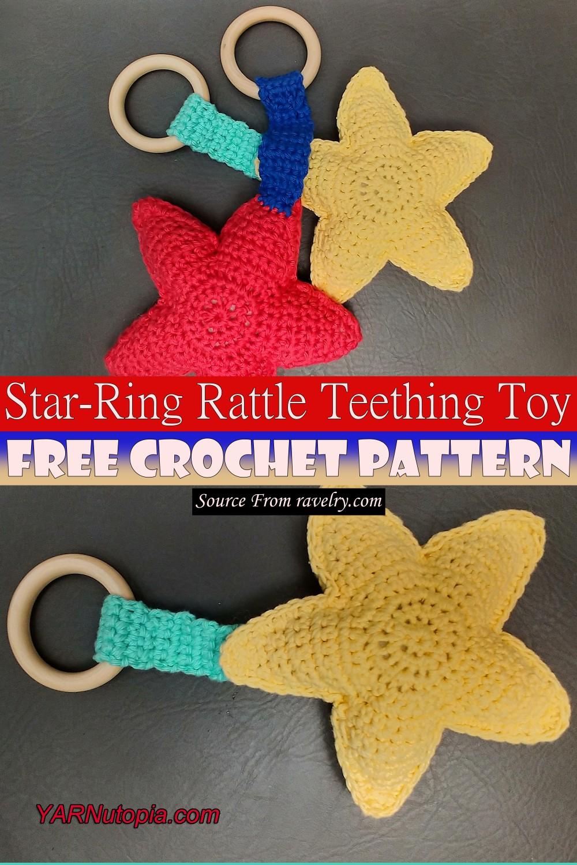 Crochet Star-Ring Rattle Teething Toy Pattern