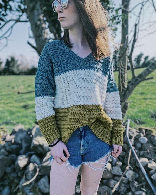 Crochet V Neck Sweater Pattern