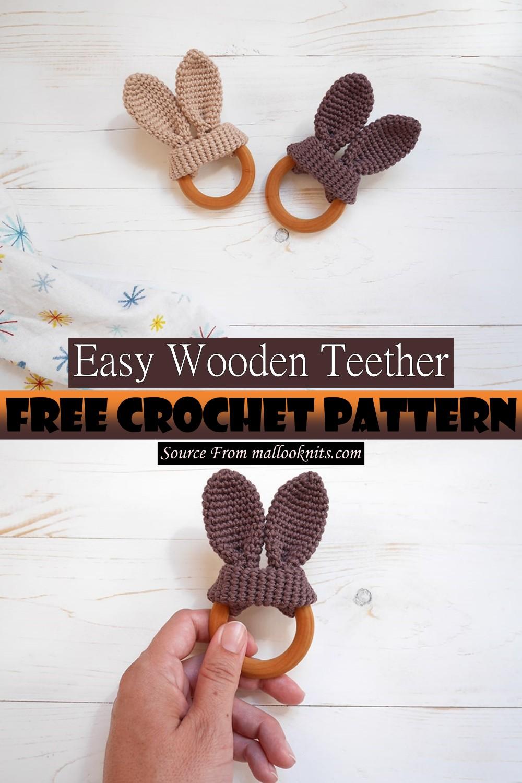 Easy Crochet Wooden Teether Pattern 1