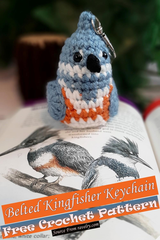 Free Crochet Belted Kingfisher Keychain Pattern