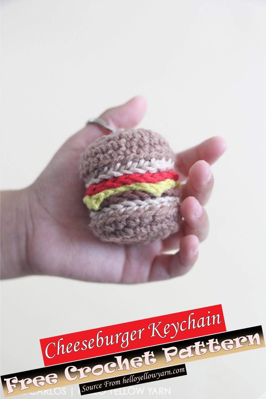Free Crochet Cheeseburger Keychain Pattern