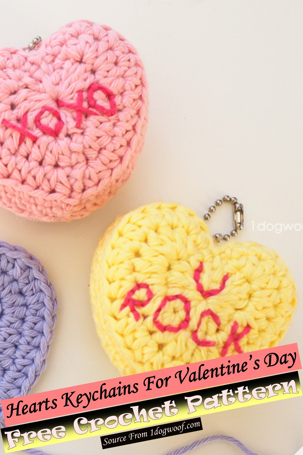Free Crochet Hearts Keychains For Valentine's Day Pattern