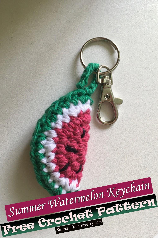 Free Crochet Summer Watermelon Keychain Pattern
