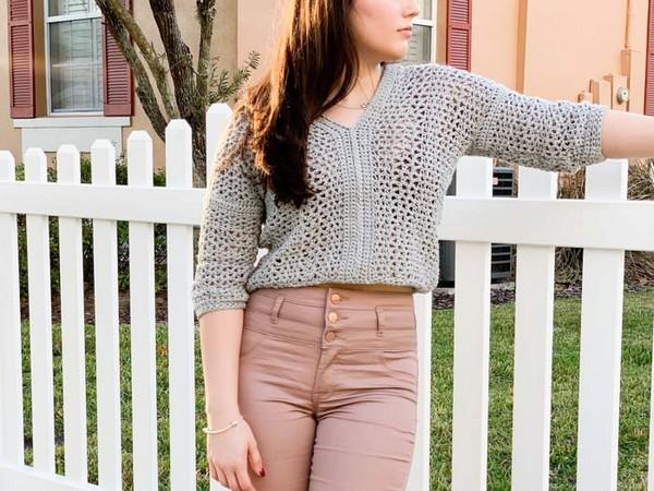 Lightweight Cropped Crochet Sweater Pattern