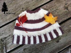 Striped Messy Bun Hat Crochet Pattern