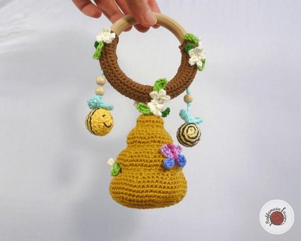Amigurumi Beehive Baby Rattle Crochet Pattern