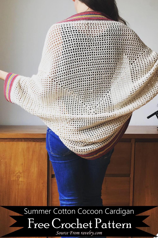 Crochet Summer Cotton Cocoon Cardigan Pattern
