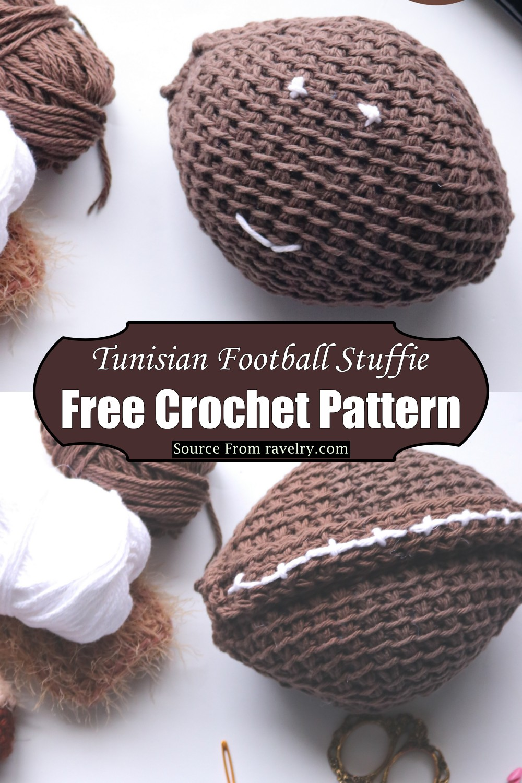 Crochet Tunisian Football Stuffie Pattern