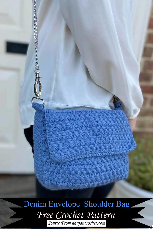 Denim Envelope Crochet Shoulder Bag Pattern