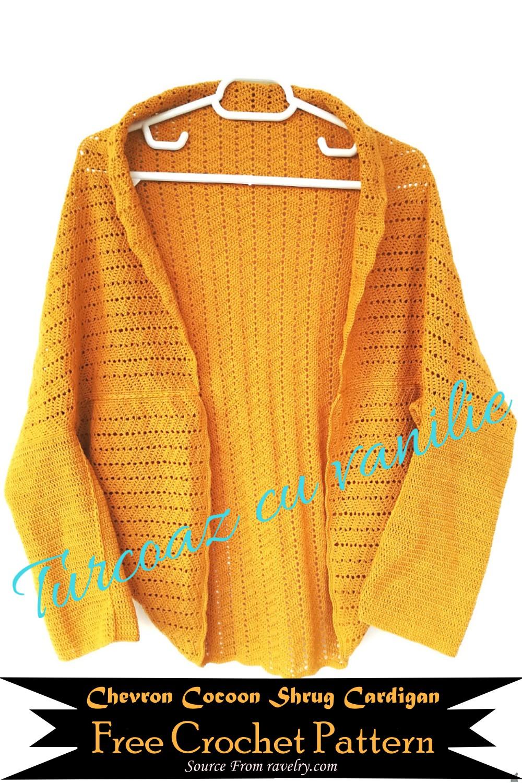 Free Crochet Chevron Cocoon Shrug Cardigan Pattern