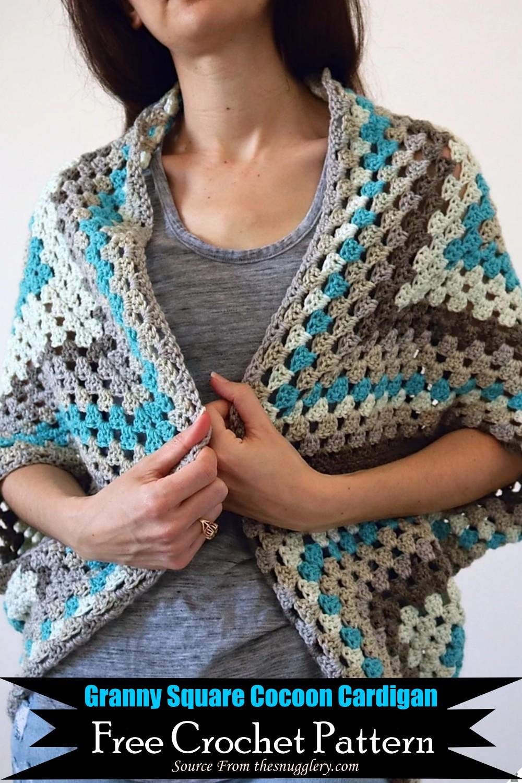 Granny Square Crochet Cocoon Cardigan Pattern
