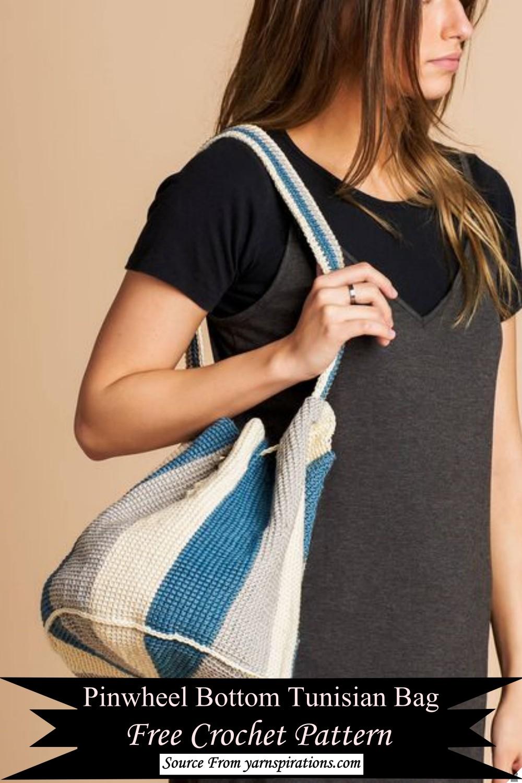 Pinwheel Bottom Tunisian Bag Crochet Pattern