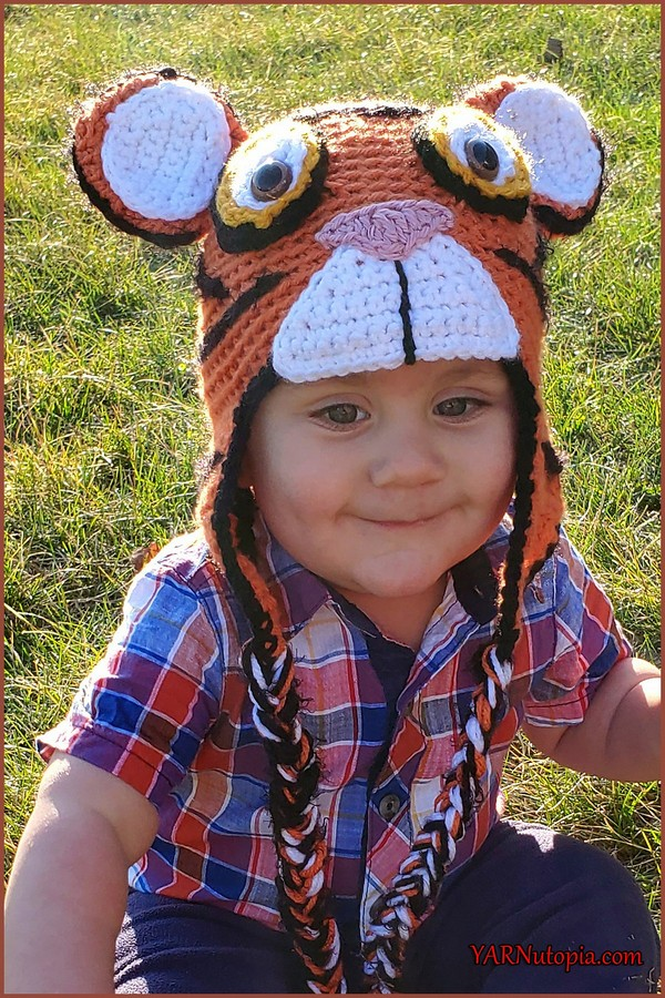Tiger Hat With Earflaps Crochet Pattern