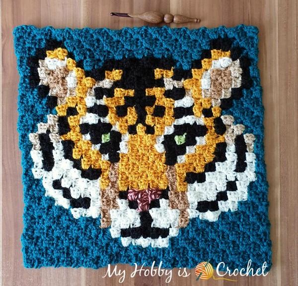 Tigris The Siberian Tiger C2c Square Crochet Pattern