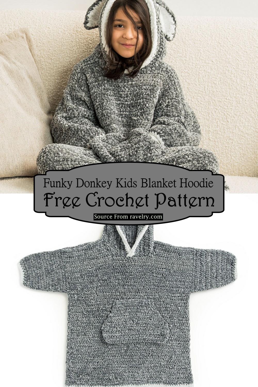 Crochet Funky Donkey Kids Blanket Hoodie Pattern
