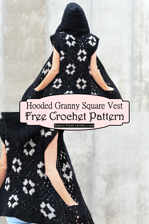 Crochet Hooded Granny Square Vest Pattern