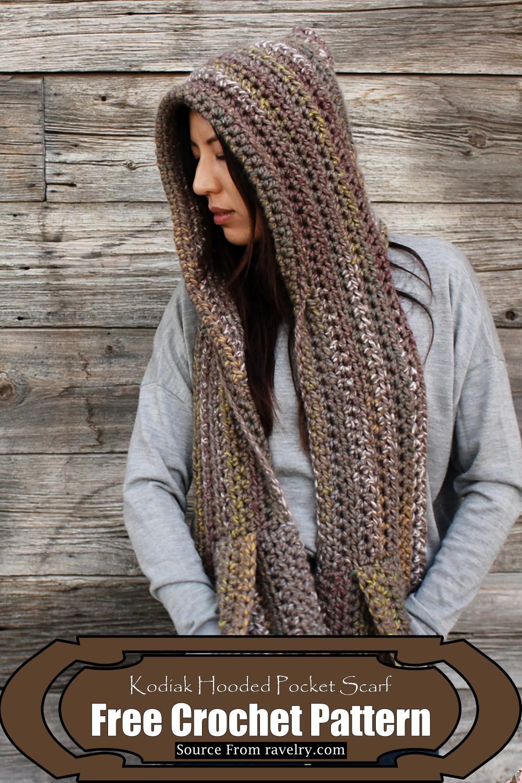 Crochet Kodiak Hooded Pocket Scarf Pattern